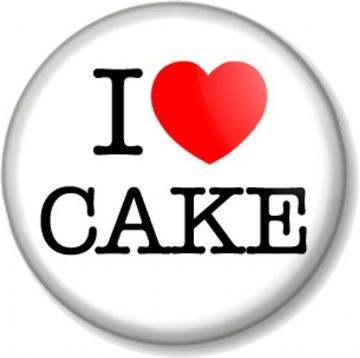 I Love / Heart Cake Pinback Button Badge Great British Bake Off foodie gift